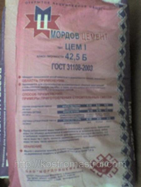 Цемент ЦЕМ I 42,5 Б (500 Д0) 50кг МОРДОВЦЕМЕНТ